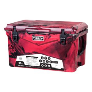 PIERCE 45 Quart Rotomolded Red and Black Camo Cooler
